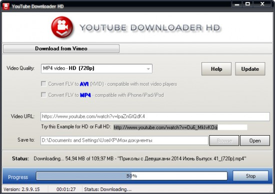 Окно программы Youtube Downloader HD